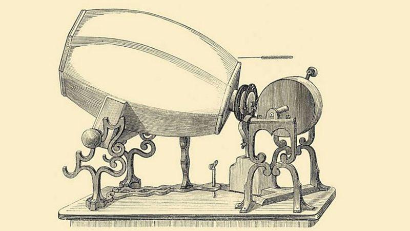 Una de las versiones del fonoautógrafo creado por Edouard-Léon Scott de Martinville.